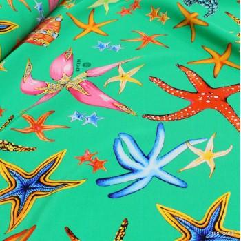 Коприна Versace морско дъно зелен фон
