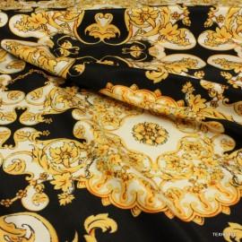 Креп коприна Versace черно-златна