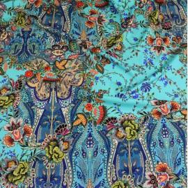 Коприна Etro син фон с цветя