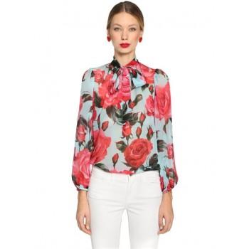 Креп коприна Dolce&Gabbana червени рози на син фон