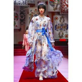 Креп коприна Dolce&Gabbana с ангелчета син фон