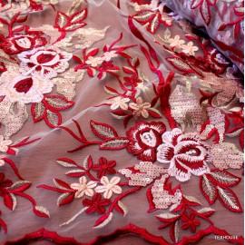 Дантела тюл Blumarine червено- бяла