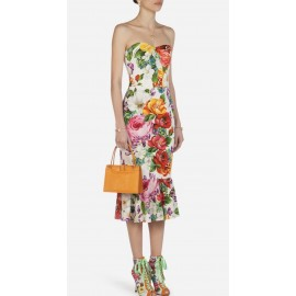Коприна Dolce &Gabbana рози бял фон
