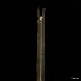Метален цип с двоен плъзгач тъмно кафяв